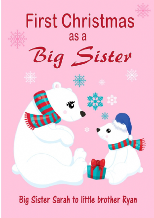 Personalised Big Sister to Little Brother Christmas Card Design 2